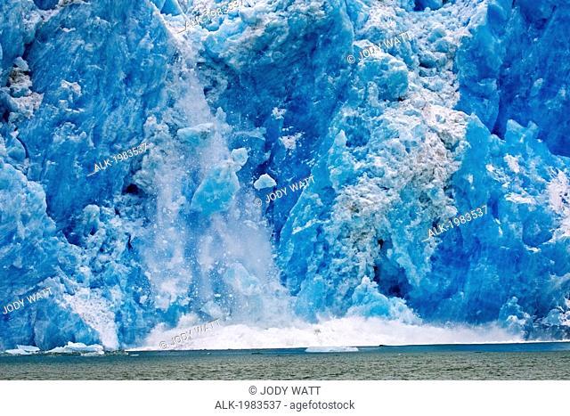 Alaska, Le Conte Glacier, Caving Glacier, Blue Falling Ice