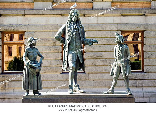 Bronze monument in park near Opera theatre in Oslo, Norway