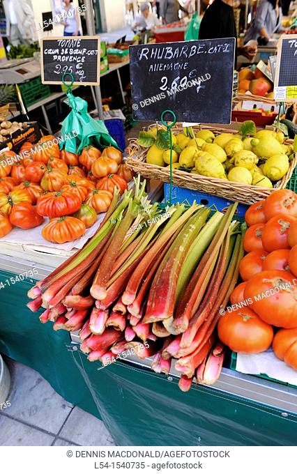 Fruits Vegetables Display market Toulon France French Riviera Mediterranean Europe Harbor