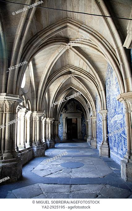Arched Colonnade at Museu Arte Sacra at Sé Cathedral in Porto - Portugal