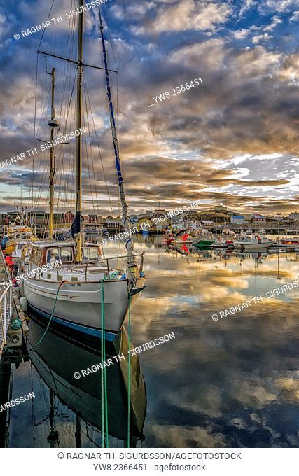 Boats in Stykkisholmur Harbor, Snaefellsnes Peninsula, Iceland