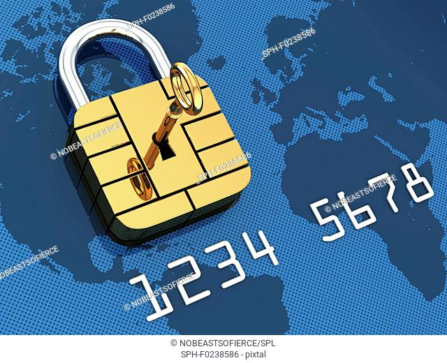 Credit card security, conceptual illustration
