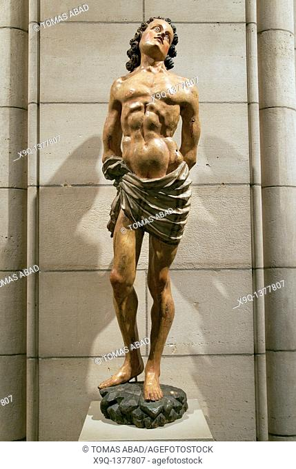 Saint Sebastian, late 15th century, European poplar, Made in Tyrol, possible Austria, paint, gesso Overall: 49 1/2 x 12 1/2 in , 125 7 x 31 8 cm