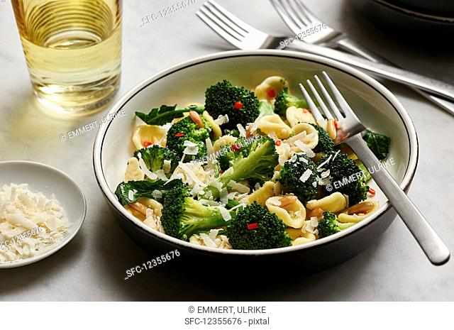 Orechiette with broccoli, chili, garlic and pine nuts