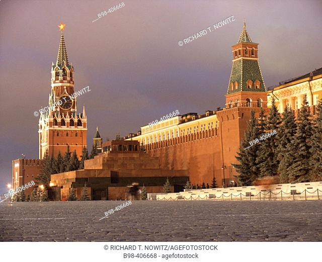 Moscow, Russia, Lenin's Mausoleum, Tomb, and Saviour's Tower, Kremlin walls at twilight