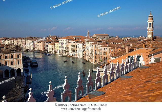 Rooftop view of the Grand Canal from the Fondaco dei Tedeschi (b. 1228) - now a department store ajacent to Rialto Bridge, Venice, Veneto, Italy