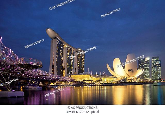 Singapore city skyline and waterfront, Singapore, Singapore