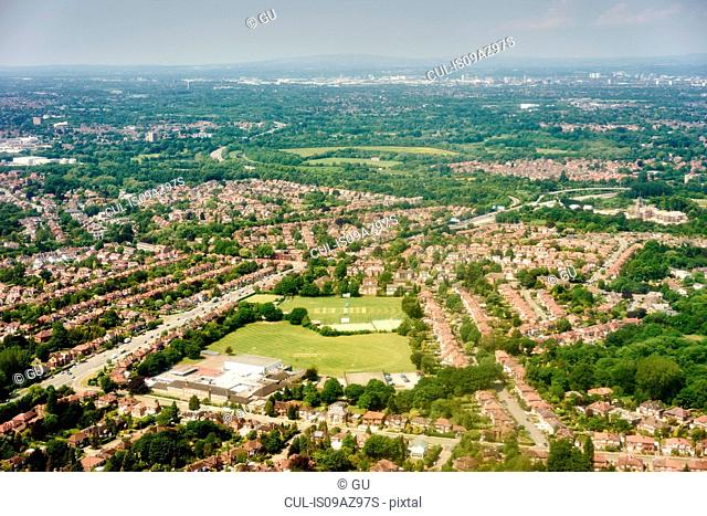 Aerial view of suburban cricket field, Manchester, UK