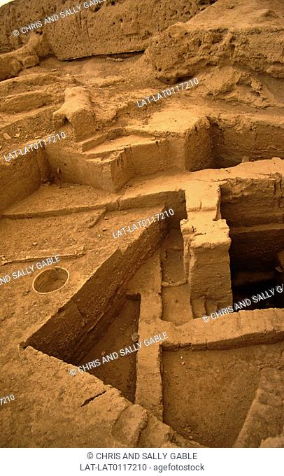 Desert city and archaeological site. Built structure. Excavations. Buildings. Steps. Into earth. Sumarian Amorite. Euphrates river bank. 2,000 BC