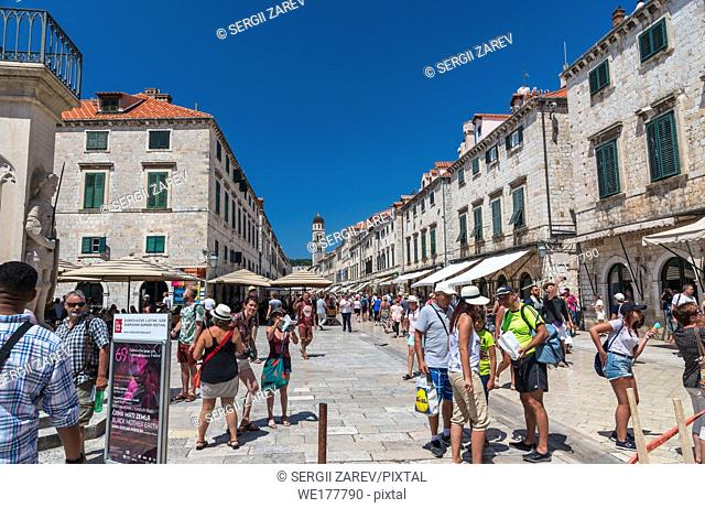 Dubrovnik, Croatia - 07. 13. 2018. The streets of Dubrovnik Old Town, Croatia, on a sunny summer day