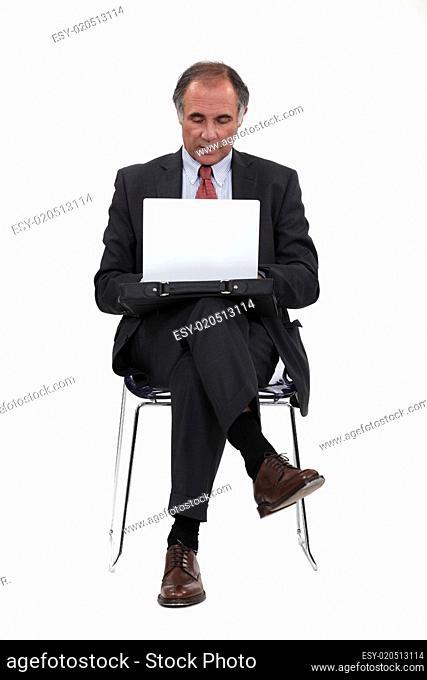Businessman using a notebook