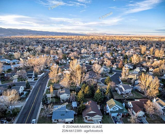 sunset over Colorado town
