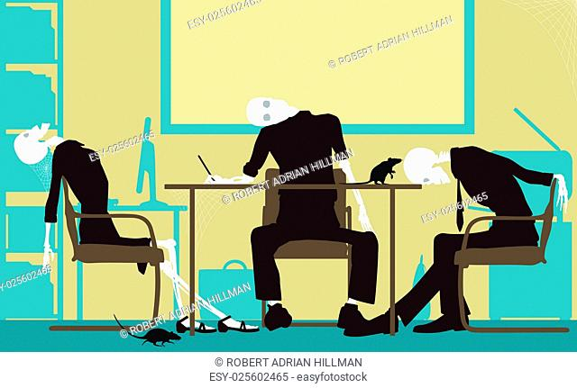 Editable vector silhouettes of skeletons in an office as a failed business concept