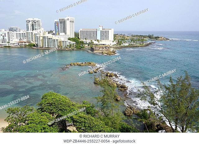 The Condado Plaza Hilton hotel Condado Lagoon Barrier Reef and Atlantic Ocean Overview-San Juan, Puerto Rico