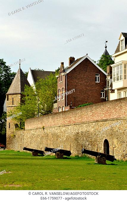 Section of the old city wall near the Vijfkoppen AKA The Five Heads with cannons in the foreground