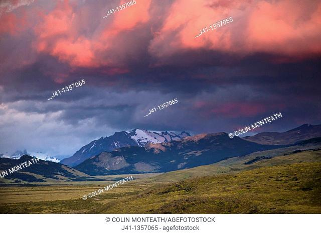 Dawn light catches rain clouds, La Quinta estancia, edge Parque Nacional Los Glaciares, Patagonia, Argentina