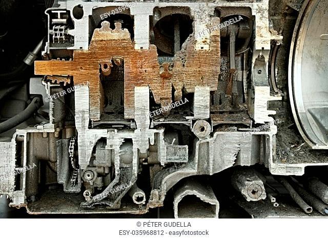 V6 car engine cut in half