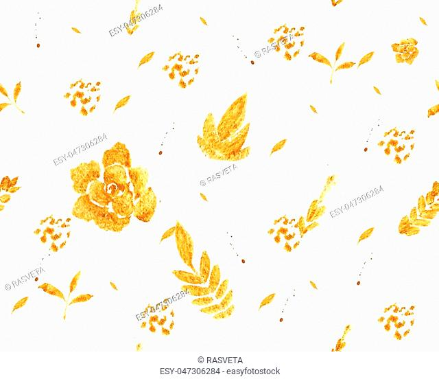 Romantic gold rose bouquet design pattern invitation template. Luxury richest ornament of flowers and leaves painted watercolor