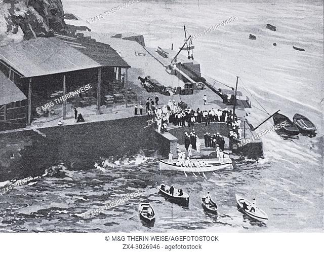 Arrival of Boers Captives in St Helen Island after the Boers war, Picture from the French weekly newspaper l'Illustration, 17th November 1900