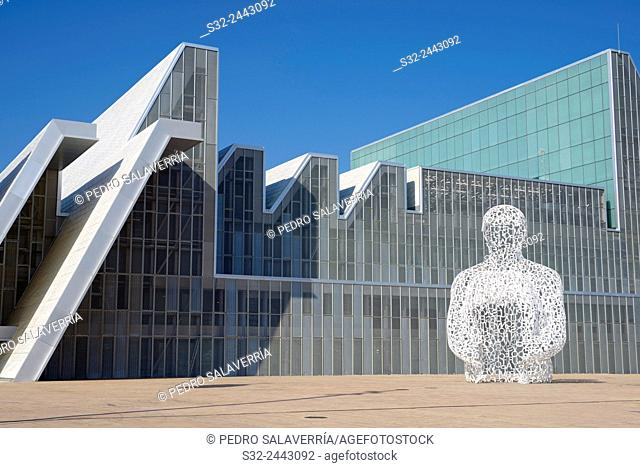"""Sculpture known as """"""""Ebro Soul """""""", sculptor Jaume Piensa, and Congress Hall, in what was the EXPO 2008, Zaragoza, Aragon, Spain"""