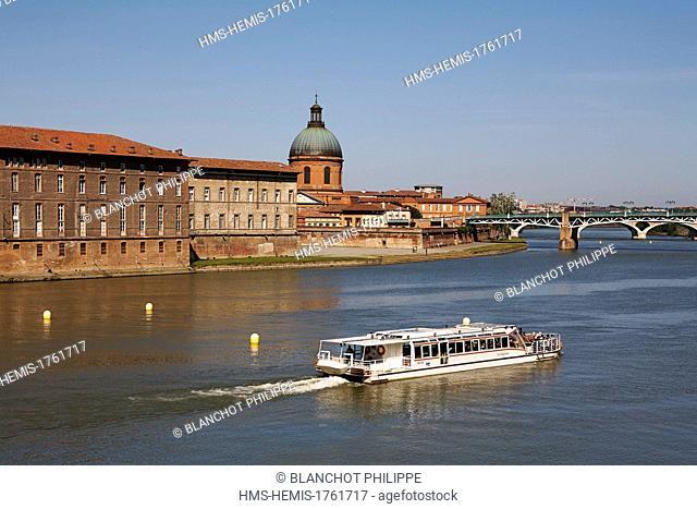 France, Haute Garonne, Toulouse, cruise on Garonne river banks aboard the Capitole, Hospital St Joseph de la Grave and its St Joseph chapel