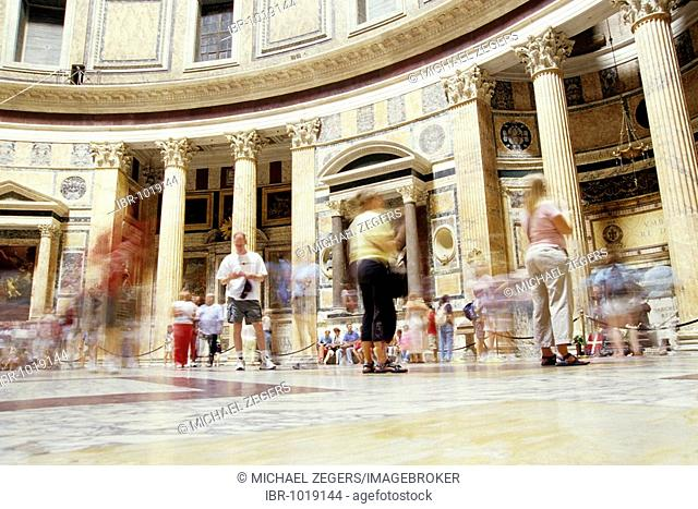 Tourists in the Pantheon, the best obtained roman temple of the ancient world, later transformed into a Christian church, Piazza della Rotonda Square, Rome