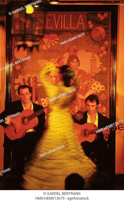 Spain, Andalusia, Sevilla, flamenco show at Tablao Los Gallos