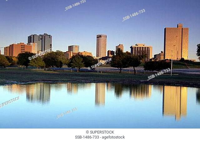 Skyline of a city at riverbank, Trinity River, Fort Worth, Texas, USA