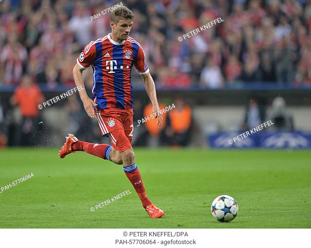 Munich's Thomas Mueller in action during the Champions League quarter finals second leg match between FCBayern Munich and FCPorto in the Arena in Munich