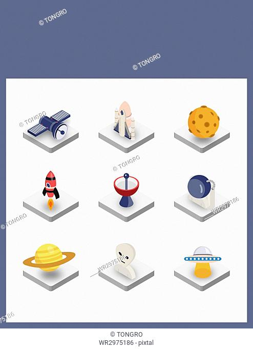 Set of various icons related to space science