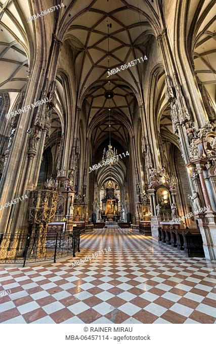 Interior view of the Stephansdom, 1. district inner city, Vienna, Austria