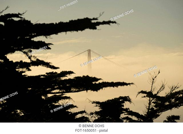 View of Golden Gate Bridge surrounded by fog against sky, San Francisco, California, USA