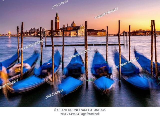 Gondolas Moored Near St Marks Square, Venice, Italy