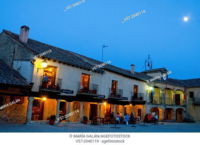 Main Square, night view. Pedraza, Segovia province, Castilla Leon, Spain