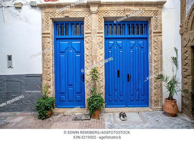 Two Bright Blue Doors, Essaouira, Marrakesh-Safi, Morocco