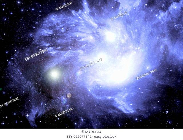 "Stars of a planet and galaxy in a free space """"Elements of this image furnished by NASA"""""""""""