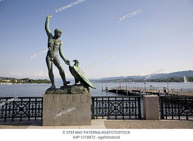 Ganymed Statue, Lake Zurich, Zurich, Switzerland
