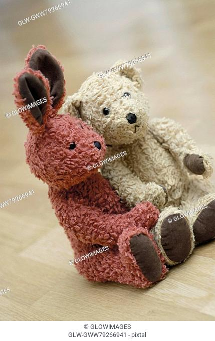 Close-up of two teddy bears