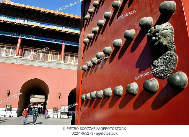 Beijing (China): door at the Forbidden City