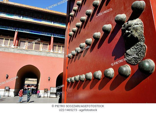 Beijing (China): door at the Forbidden City