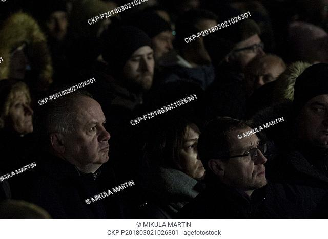 Thousands of people gathered in the centre of Bratislava, Slovakia, March 2, 2018 to pay respect to investigative journalist Jan Kuciak and his fiancee Martina...