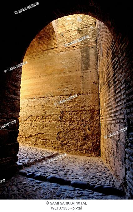 Entrance to the alcazaba fortification at Alhambra, a 14th-century palace in Granada, Andalusia, Spain