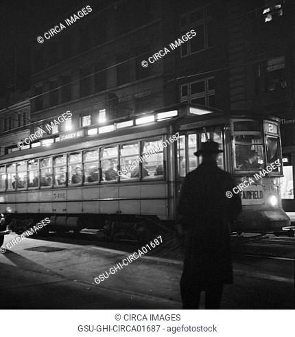 Trolley Carrying Workers to Night Shift at Bethlehem Fairfield Shipyard, Baltimore, Maryland, USA, Marjorie Collins for Office of War Information, April 1943