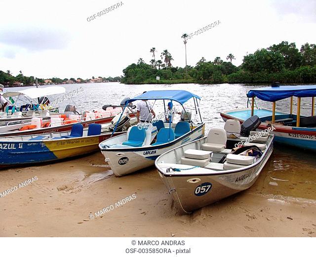 sao luis do maranhao boats transportations anchored at teh seashore