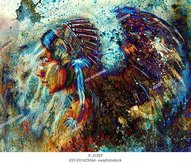 indian woman wearing feather headdress and abstract color collage