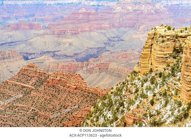 The Grand Canyon from the South Rim, in winter, Grand Canyon National Park, Arizona, USA