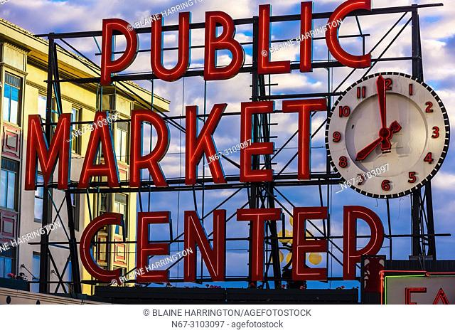 Public Market Center neon sign at the Pike Place Market, Seattle, Washington USA