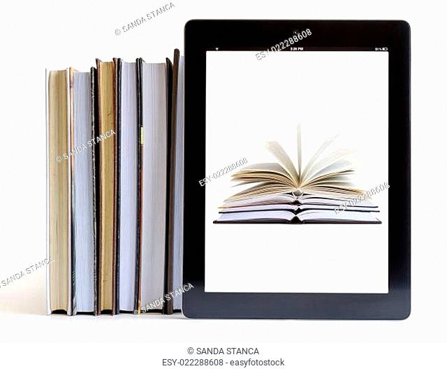 Open Books on tablet pc concept