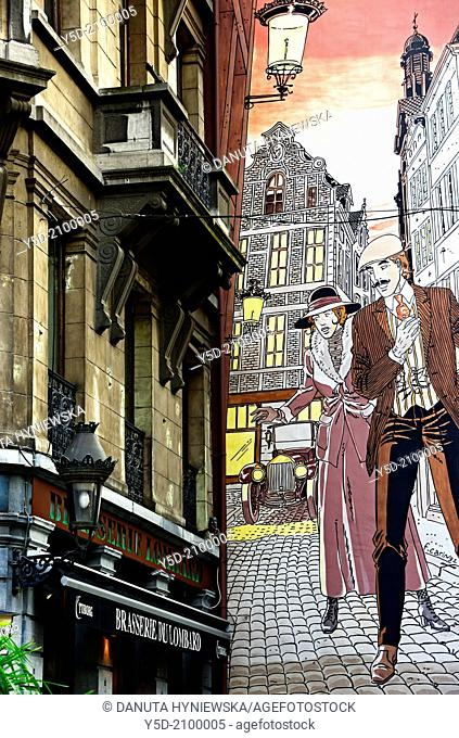 Mural painting - Victor Sackville, comic strip by Francis Carin, rue Marché-au-Charbon 60 close to the area with all the comic strip shops - boulevard Anspach...