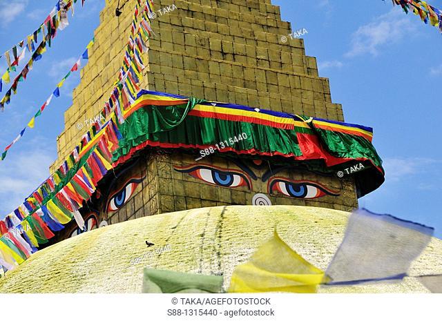 Boudhanath stupa is the largest Tibetan Buddhism stupa in Nepal